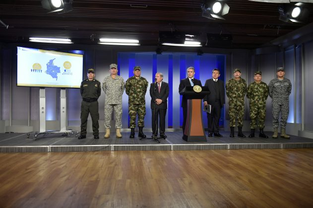 Colombian President Ivan Duque speaks during the presentation of a security report, accompanied by the military commands in the presidential palace, in Bogota, Colombia April 2, 2019. Courtesy of Colombian Presidency/Handout via REUTERS