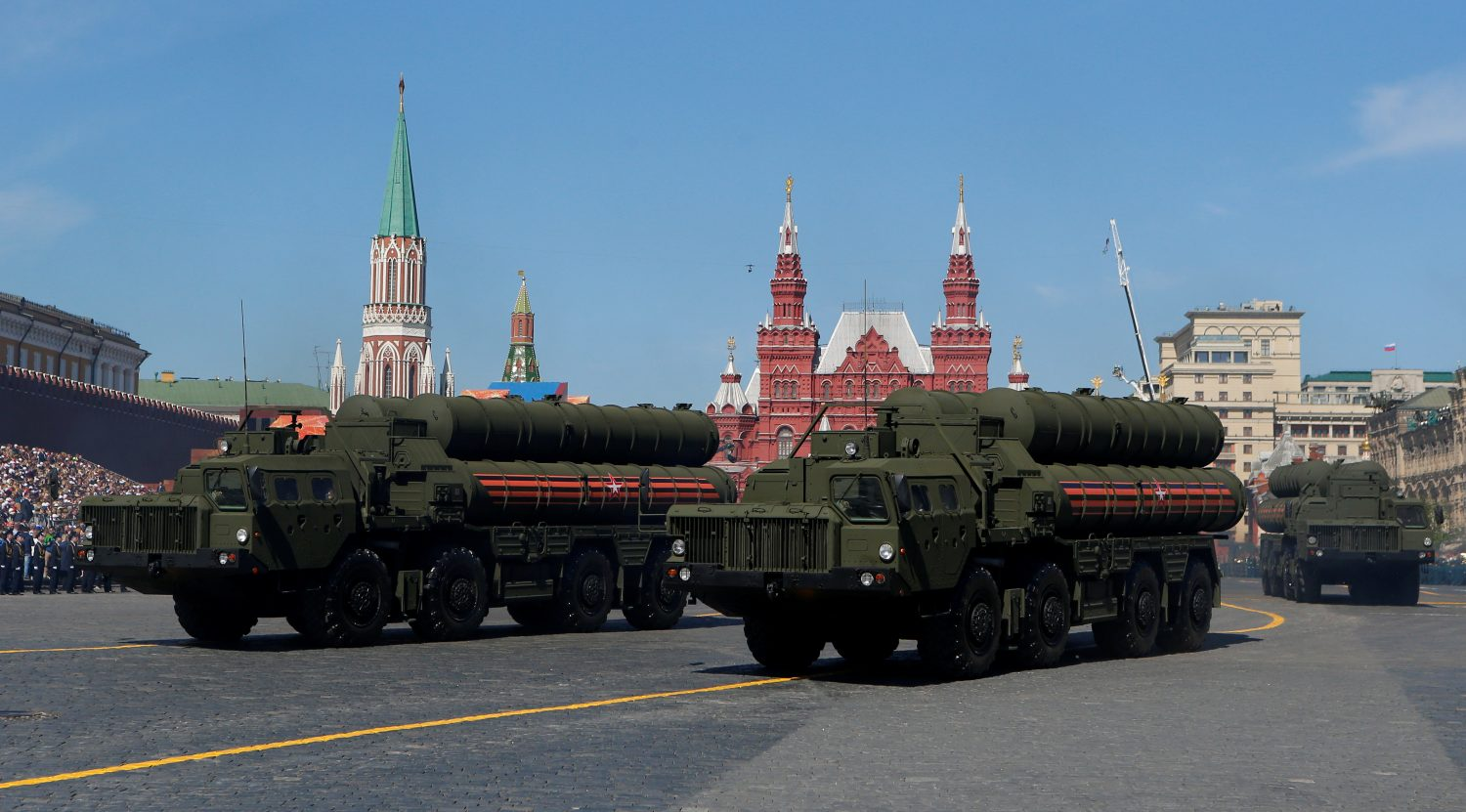 FILE PHOTO: Russian servicemen drive S-400 missile air defence systems during the Victory Day parade, marking the 73rd anniversary of the victory over Nazi Germany in World War Two, at Red Square in Moscow, Russia May 9, 2018. REUTERS/Sergei Karpukhin -/File Photo