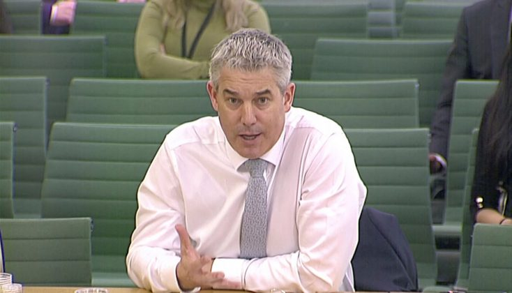 Britain's Secretary of State for Exiting the European Union Stephen Barclay is questioned by British lawmakers in the Parliament in London, Britain April 3, 2019, in this screen grab taken from video. Reuters TV via REUTERS