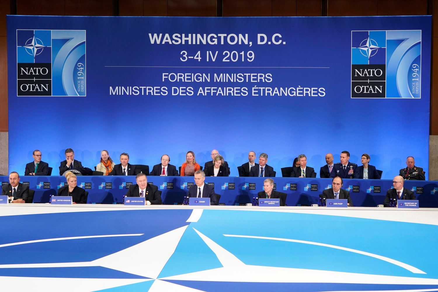 U.S. Secretary of State Mike Pompeo (3rd L) speaks at the meeting of the North Atlantic Treaty Organization (NATO) Foreign Ministers at the State Department in Washington, U.S., April 4, 2019. REUTERS/Joshua Roberts