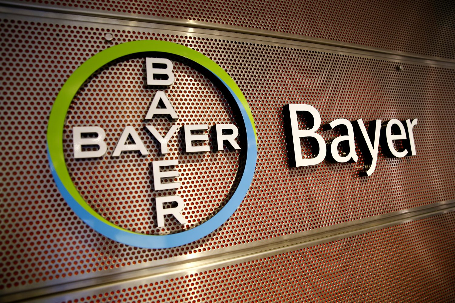 FILE PHOTO: Logo of Bayer AG is pictured at the annual results news conference of the German drugmaker in Leverkusen, Germany February 27, 2019. REUTERS/Wolfgang Rattay/File Photo