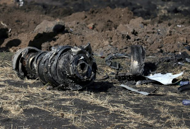 FILE PHOTO: Engine parts are seen at the scene of the Ethiopian Airlines Flight ET 302 plane crash, near the town of Bishoftu, southeast of Addis Ababa, Ethiopia March 11, 2019. REUTERS/Tiksa Negeri/File Photo