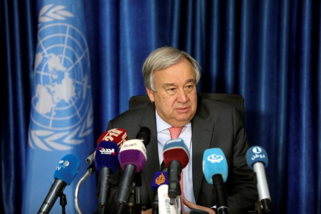 Secretary General of the United Nations Antonio Guterres speaks during a news conference in Tripoli, Libya April 4, 2019. REUTERS/Hani Amara