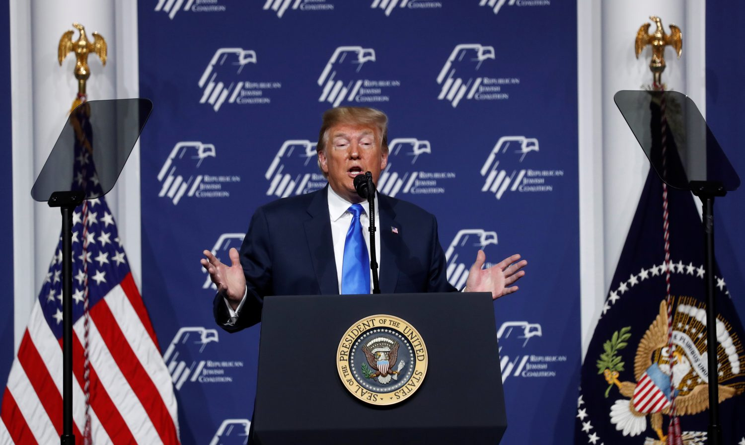 U.S. President Donald Trump addresses the Republican Jewish Coalition 2019 Annual Leadership Meeting in Las Vegas, Nevada, U.S., April 6, 2019. REUTERS/Kevin Lamarque