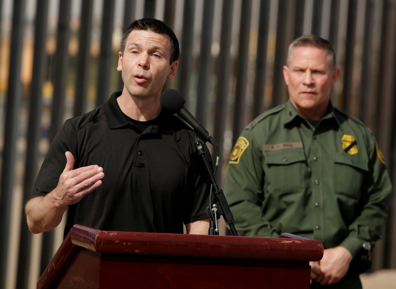 FILE PHOTO: U.S. Customs and Border Protection Commissioner Kevin K. McAleenan speaks about the impact of the dramatic increase in illegal crossings that continue to occur along the Southwest during a news conference, in El Paso, Texas March 27, 2019. REUTERS/Jose Luis Gonzalez/File Photo