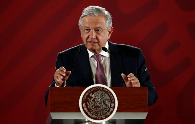 Mexico's President Andres Manuel Lopez Obrador speaks during a news conference at the National Palace in Mexico City, Mexico April 15, 2019. REUTERS/Edgard Garrido