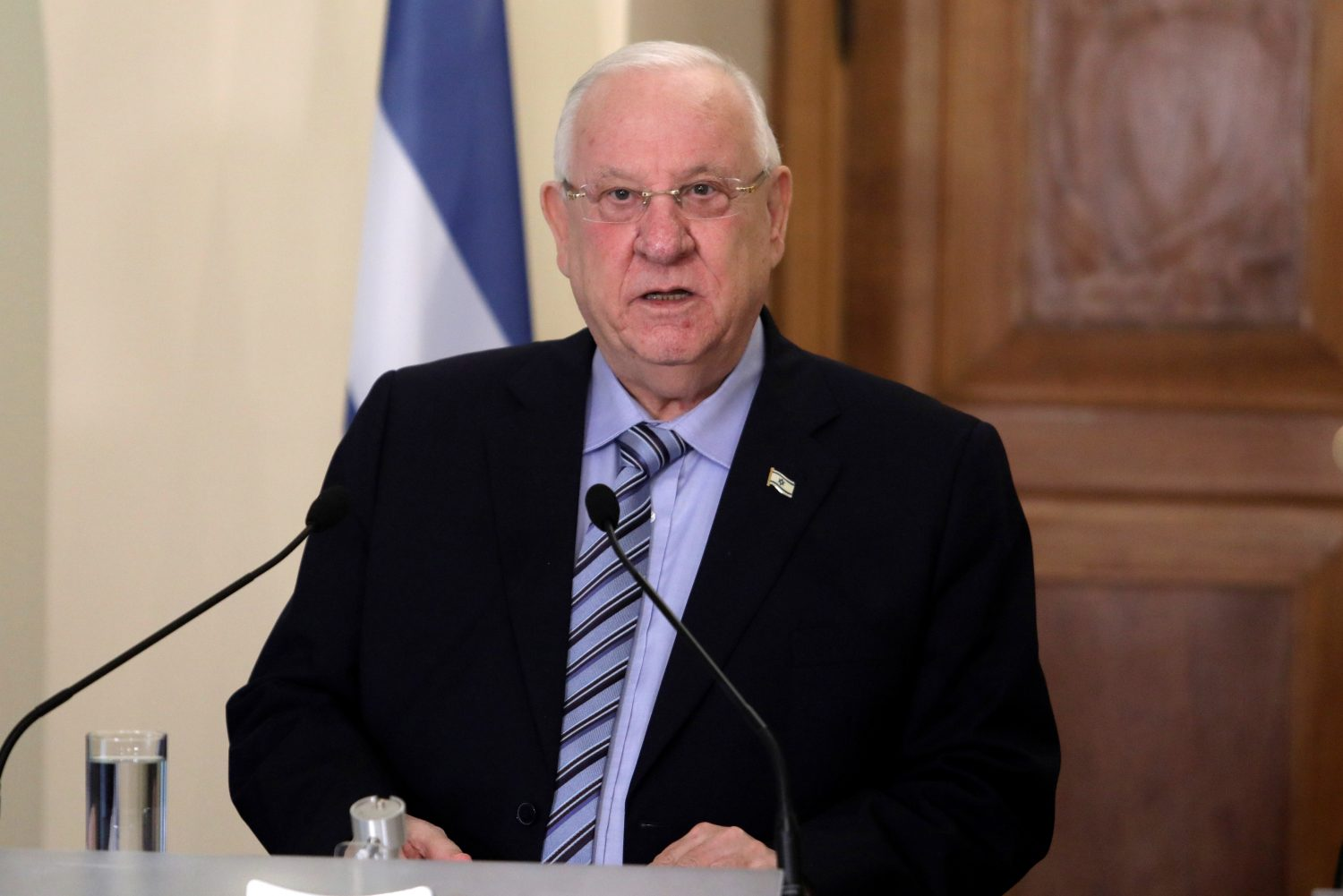 FILE PHOTO: Israeli President Reuven Rivlin talks during a press conference at the Presidential Palace in Nicosia, Cyprus February 12, 2019. REUTERS/Yiannis Kourtoglou