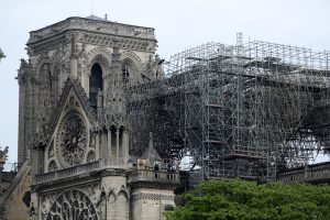 View of Notre-Dame Cathedral after a fire devastated large parts of the gothic gem in Paris, France April 16, 2019. A massive fire consumed the cathedral on Monday, gutting its roof and stunning France and the world. REUTERS/Yves Herman