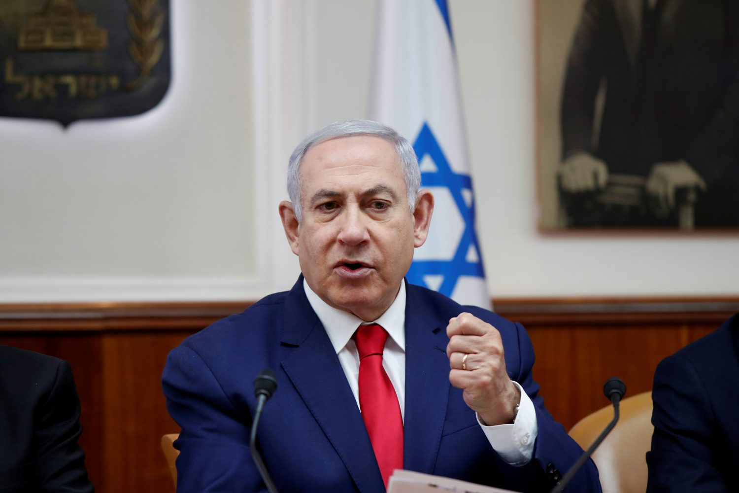 FILE PHOTO: Israeli Prime Minister Benjamin Netanyahu gestures during a weekly cabinet meeting in Jerusalem, April 14, 2019. REUTERS/Ronen Zvulun/File Photo
