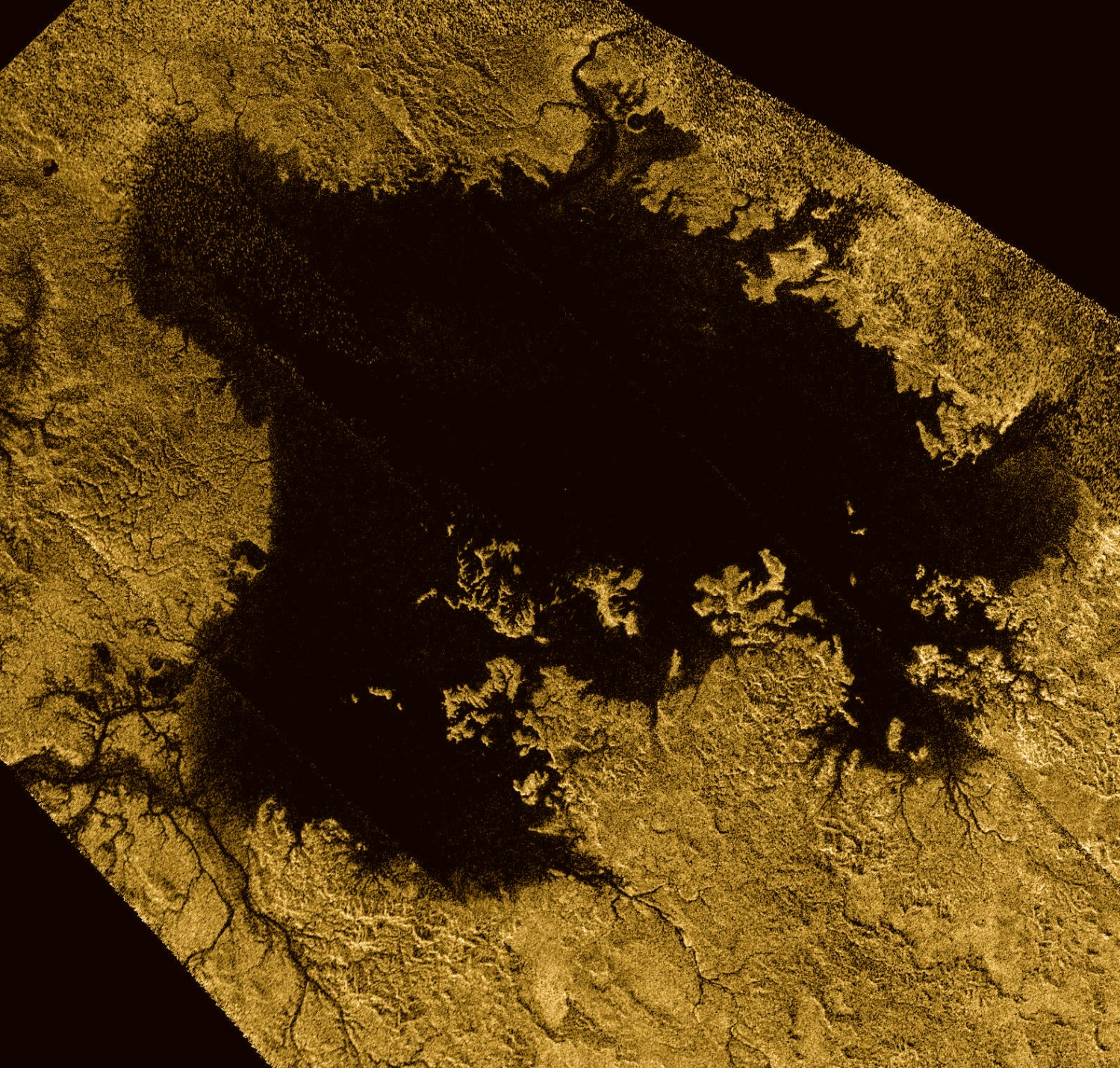 Ligeia Mare, the second largest known body of liquid on Saturn's moon Titan, shown in data obtained by NASA's Cassini spacecraft, is pictured in this NASA handout image released January 17, 2018. NASA/Handout via REUTERS