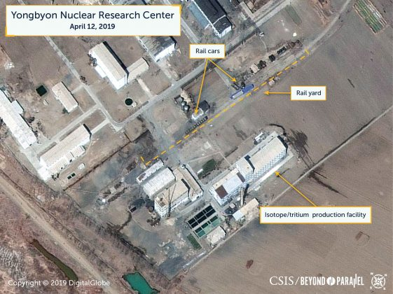 A view of what researchers of Beyond Parallel, a CSIS project, describe as specialized rail cars at the Yongbyon Nuclear Research Center in North Pyongan Province, North Korea, in this commercial satellite image taken April 12, 2019 and released April 16, 2019. CSIS/Beyond Parallel/DigitalGlobe 2019 via REUTERS