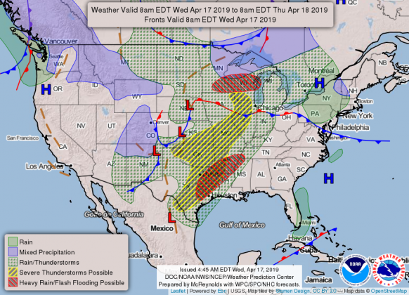 National Weather forecast for 4-17-19