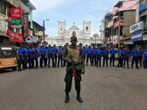 Sri Lankan military officials stand guard in front of the St. Anthony's Shrine, Kochchikade church after an explosion in Colombo, Sri Lanka April 21,2019.REUTERS/Dinuka Liyanawatte