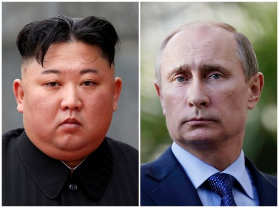 FILE PHOTO: A combination of file photos shows North Korean leader Kim Jong Un attending a wreath laying ceremony at Ho Chi Minh Mausoleum in Hanoi, Vietnam March 2, 2019 and Russia's President Vladimir Putin looking during a joint news conference with South African President Jacob Zuma after their meeting at the Bocharov Ruchei residence in the Black Sea resort of Sochi, Krasnodar region, Russia, May 16, 2013. REUTERS/Jorge Silva/Pool/Maxim Shipenkov/Pool/File Photo