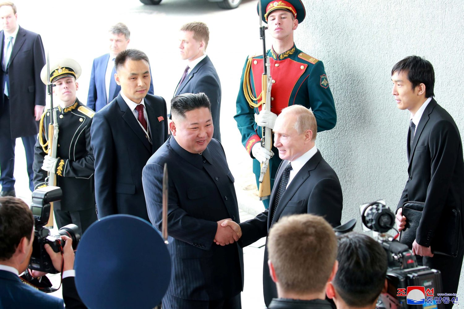 North Korean leader Kim Jong Un shakes hands with Russian President Vladimir Putin in Vladivostok, Russia in this undated photo released on April 25, 2019 by North Korea's Central News Agency (KCNA). KCNA via REUTERS