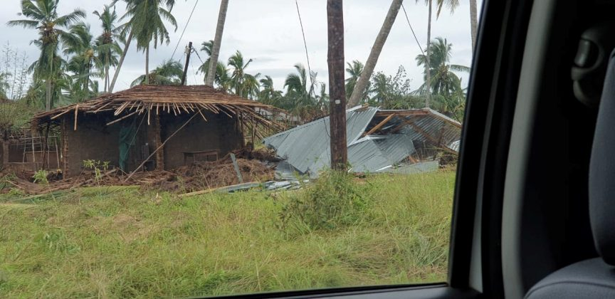 Damaged properties are pictured after Cyclone Kenneth swept through the region in Cabo Delgado province, Mozambique April 26, 2019 in this image obtained from social media. Picture taken from inside a vehicle. UNICEF via REUTERS