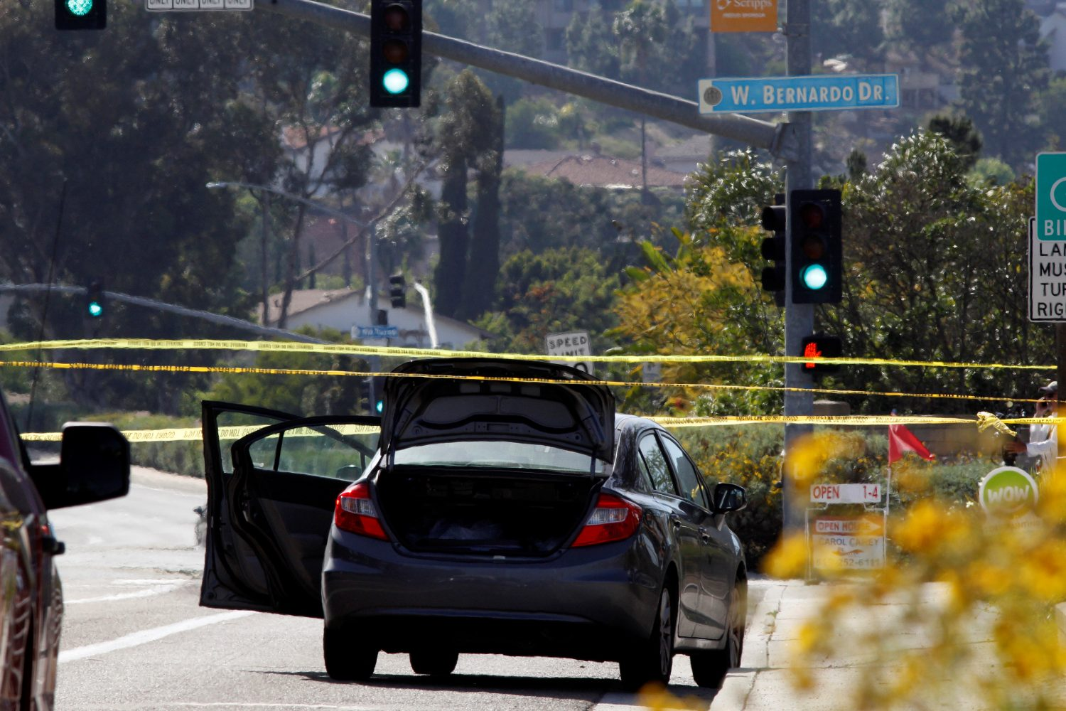 A car, allegedly used by the gunman who killed one at the Congregation Chabad synagogue in Poway, is pictured, few hundred feet from the Interstate 15 off-ramp north of San Diego, California, U.S. April 27, 2019. REUTERS/John Gastaldo