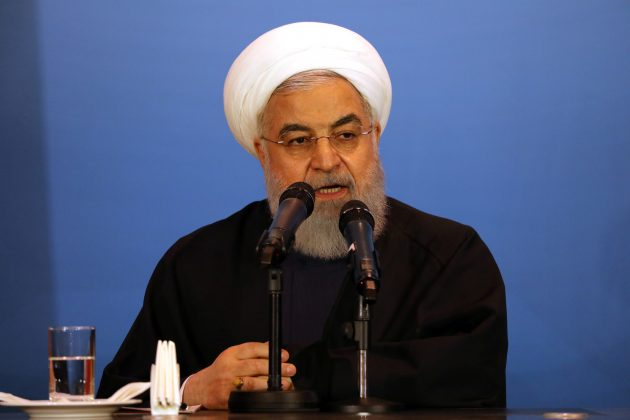 FILE PHOTO: Iranian President Hassan Rouhani speaks during a meeting with tribal leaders in Kerbala, Iraq, March 12, 2019. REUTERS/Abdullah Dhiaa Al-Deen/File Photo