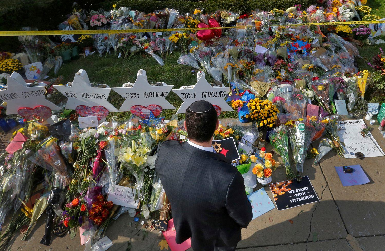 FILE PHOTO: A man prays at a makeshift memorial outside the Tree of Life synagogue following Saturday's shooting at the synagogue in Pittsburgh, Pennsylvania, U.S., October 31, 2018. REUTERS/Cathal McNaughton/File Photo