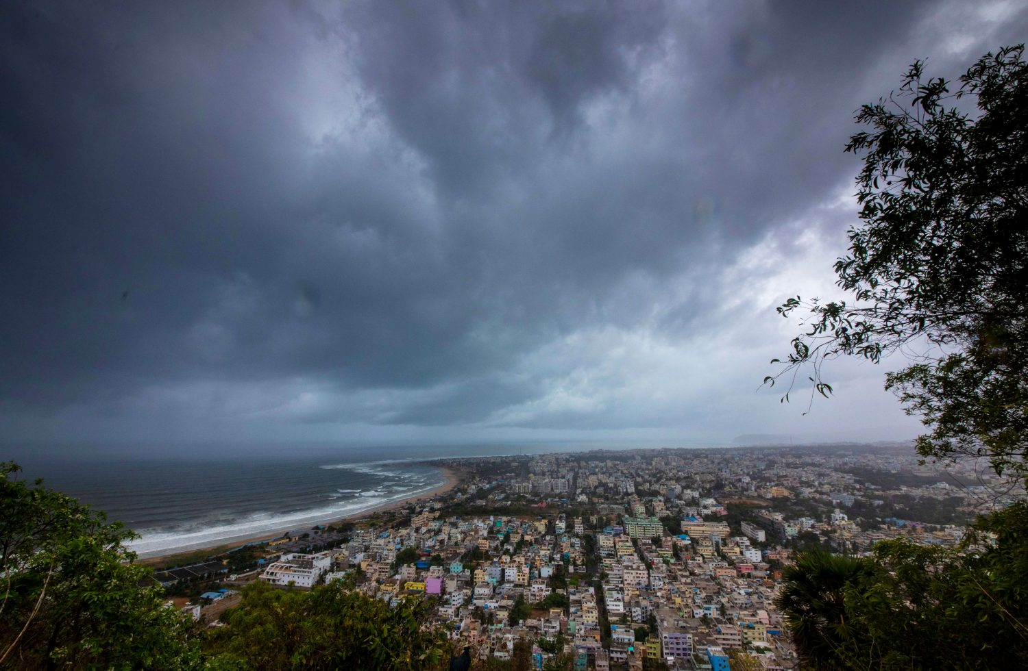 Clouds loom ahead of cyclone Fani in Visakhapatnam, India, May 1, 2019. REUTERS/Stringer