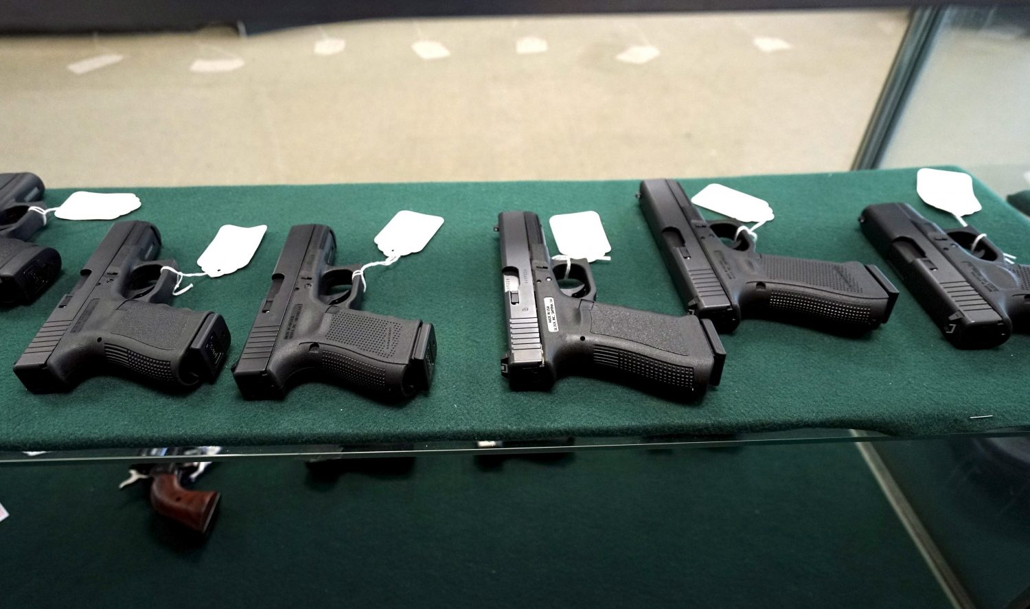 FILE PHOTO: A selection of Glock pistols are seen for sale at the Pony Express Firearms shop in Parker, Colorado December 7, 2015. REUTERS/Rick Wilking