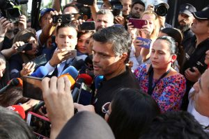 Venezuelan opposition politician Leopoldo Lopez talks to the media at the residence of the Spanish ambassador in Caracas, Venezuela May 2, 2019. REUTERS/Carlos Eduardo Ramirez
