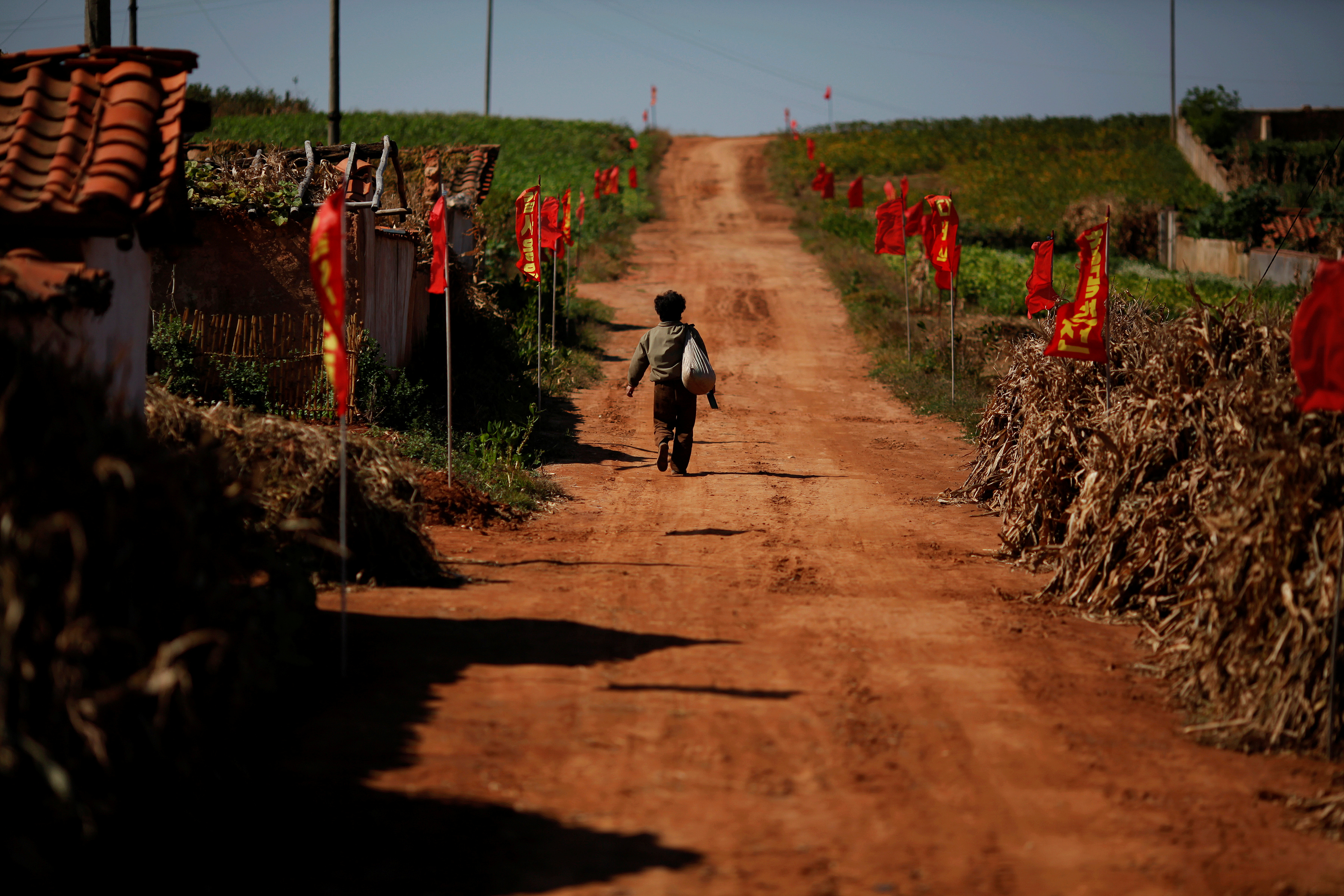 FILE PHOTO: A North Korean farmer walks through a village in an area damaged by summer floods and typhoons in South Hwanghae province September 30, 2011. REUTERS/Damir Sagolj/File Photo