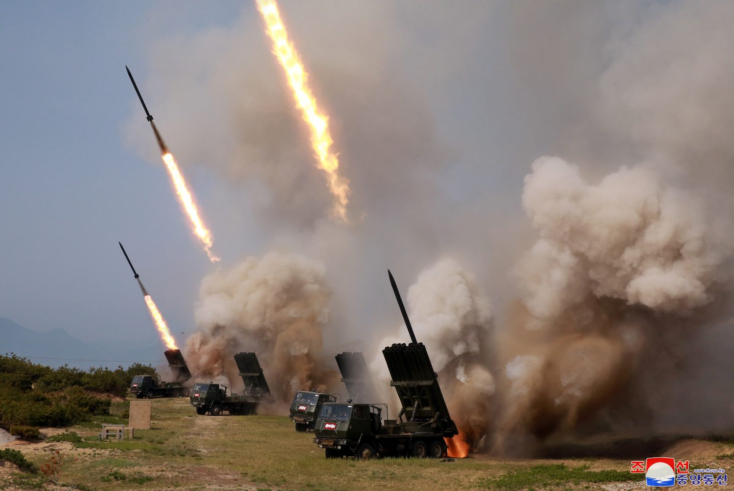 "North Korean military conducts a ""strike drill"" for multiple launchers and tactical guided weapon into the East Sea during a military drill in North Korea, in this May 4, 2019 photo supplied by the Korean Central News Agency (KCNA). KCNA via REUTERS"