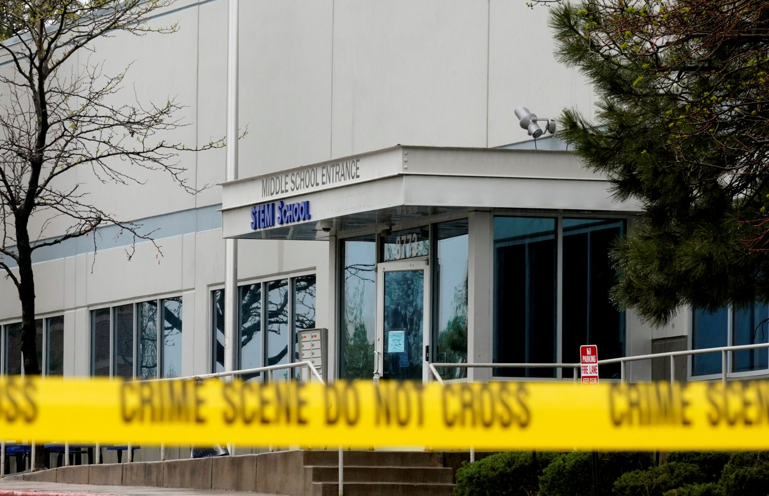 Crime scene tape is seen outside the school following the shooting at the Science, Technology, Engineering and Math (STEM) School in Highlands Ranch, Colorado, U.S., May 8, 2019. REUTERS/Rick Wilking