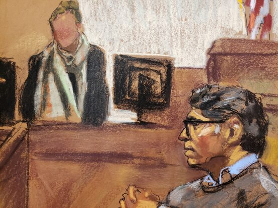 Former self-help guru Keith Raniere (R) looks on during questioning by Assistant U.S. Attorney Moira Penza (not shown) of a witness (victim whose likeness is not permitted to be sketched) in this courtroom sketch, at the Brooklyn Federal Courthouse in New York, U.S., May 7, 2019. REUTERS/Jane Rosenberg NO RESALES. NO ARCHIVES.