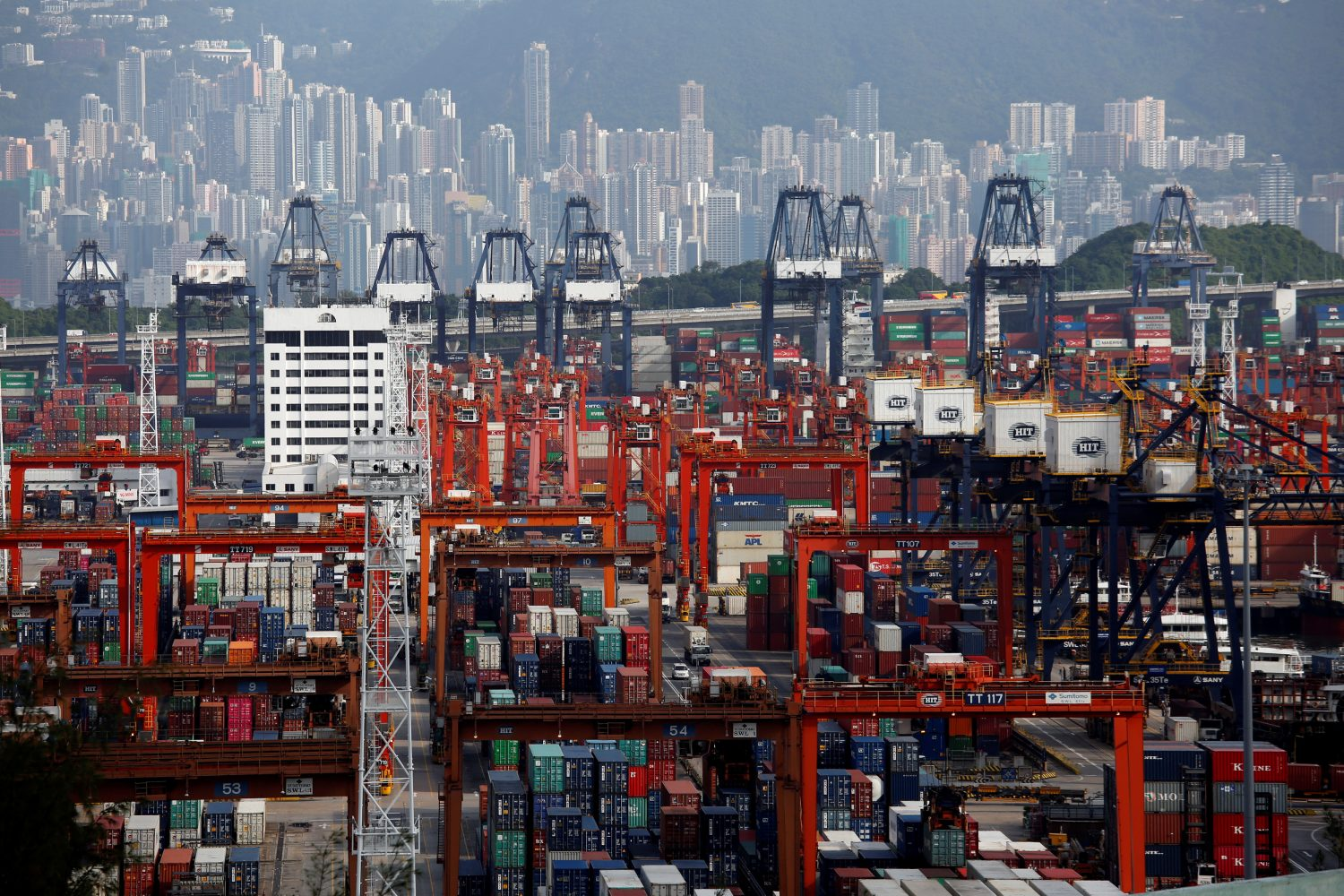 A general view of Kwai Tsing Container Terminals for transporting shipping containers in Hong Kong, China July 25, 2018. REUTERS/Bobby Yip