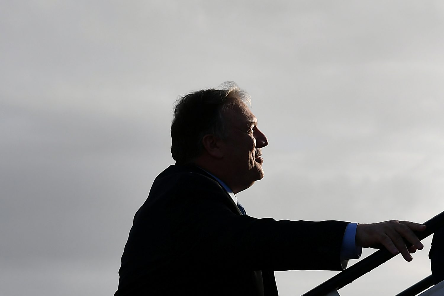 U.S. Secretary of State Mike Pompeo boards a plane before departing from London Stansted Airport, north of London, Britain May 9, 2019. Mandel Ngan/Pool via REUTERS