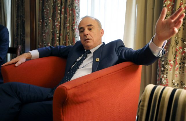 FILE PHOTO: Israeli Energy Minister Yuval Steinitz speaks during an interview with Reuters in Cairo, Egypt January 14, 2019. REUTERS/Mohamed Abd El Ghany/File Photo