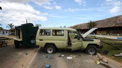 FILE PHOTO: A crashed car is seen at the scene where Venezuelan soldiers opened fire on indigenous people near the border with Brazil on Friday, according to community members, in Kumarakapay, Venezuela, February 22, 2019. REUTERS/William Urdaneta/File Photo NO RESALES. NO ARCHIVES