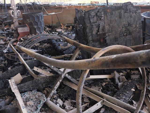 Picture of destruction from firebomb at Daystar studios in Jerusalem