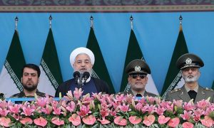FILE PHOTO: Iranian President Hassan Rouhani delivers a speech during the ceremony of the National Army Day parade in Tehran, Iran April 18, 2019. Tasnim News Agency/via REUTERS