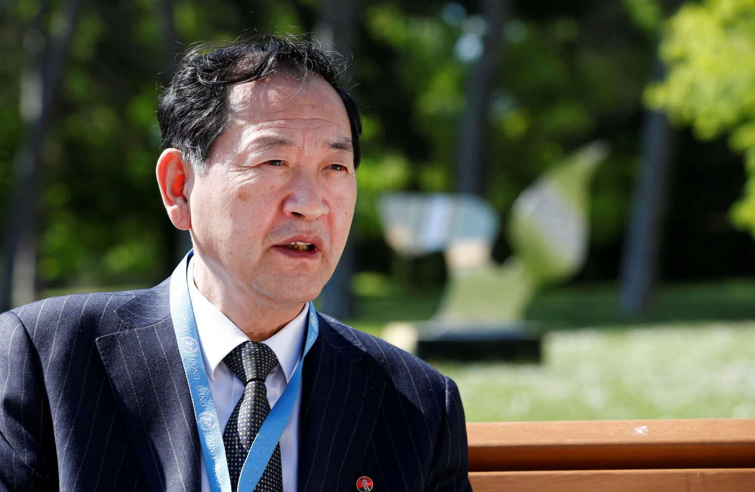 North Korea's ambassador to the United Nations Han Tae Song attends an interview with Reuters at the United Nations in Geneva, Switzerland, May 22, 2019. REUTERS/Denis Balibouse