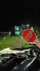 A damaged sign is seen after a tornado in Jefferson City, Missouri, U.S. May 23, 2019, in this still image taken from video obtained from social media. Jared Sheneman/via REUTERS