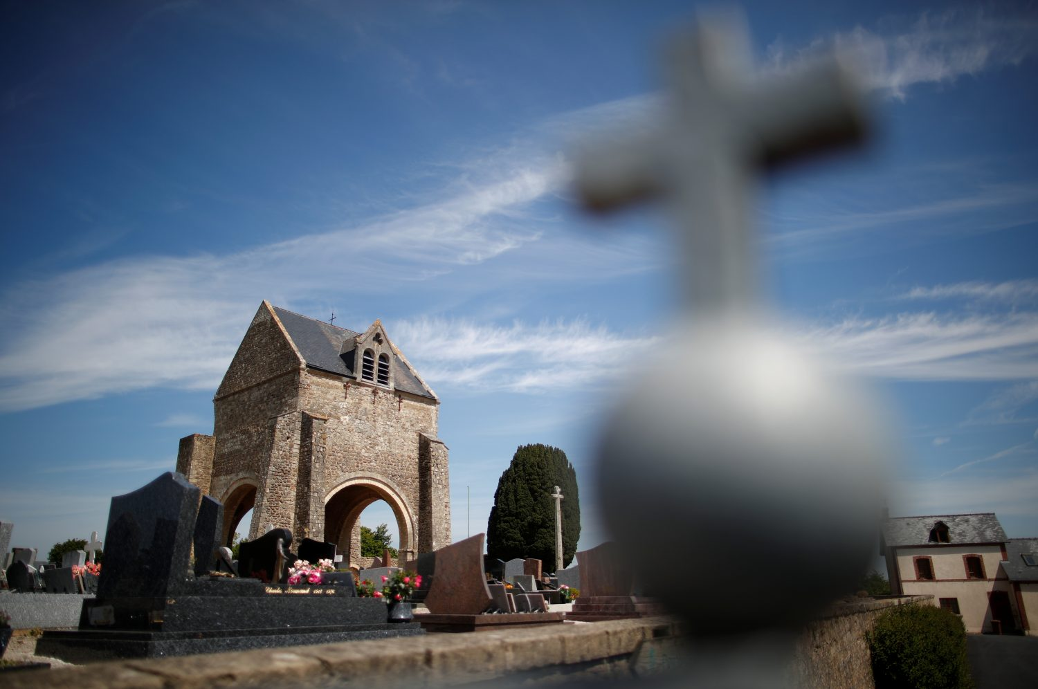 A general view shows remains of the former church at the memorial of Graignes, in Graignes, France May 15, 2019. Picture taken May 15, 2019. REUTERS/Christian Hartmann