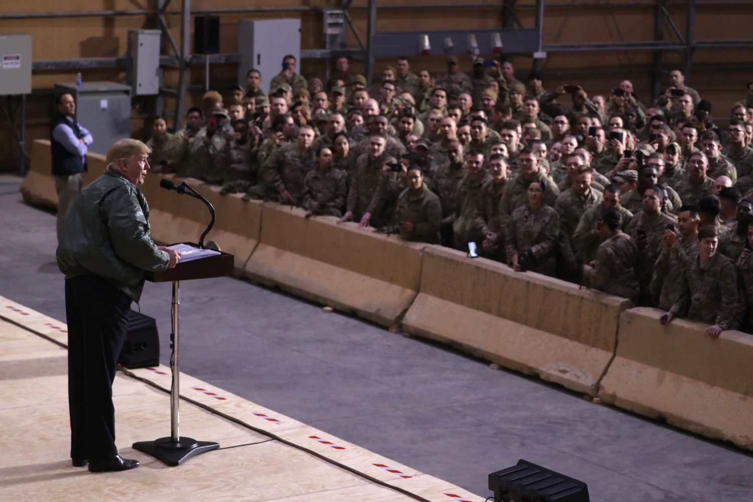 FILE PHOTO: U.S. President Donald Trump delivers remarks to U.S. troops in an unannounced visit to Al Asad Air Base, Iraq December 26, 2018. REUTERS/Jonathan Ernst