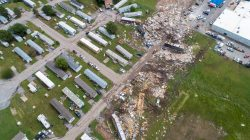 FILE PHOTO: A path of destruction through the Skyview Mobile Park Estates is seen in an aerial photo after a tornado touched down overnight in El Reno, Oklahoma, U.S. May 26, 2019. REUTERS/Richard Rowe