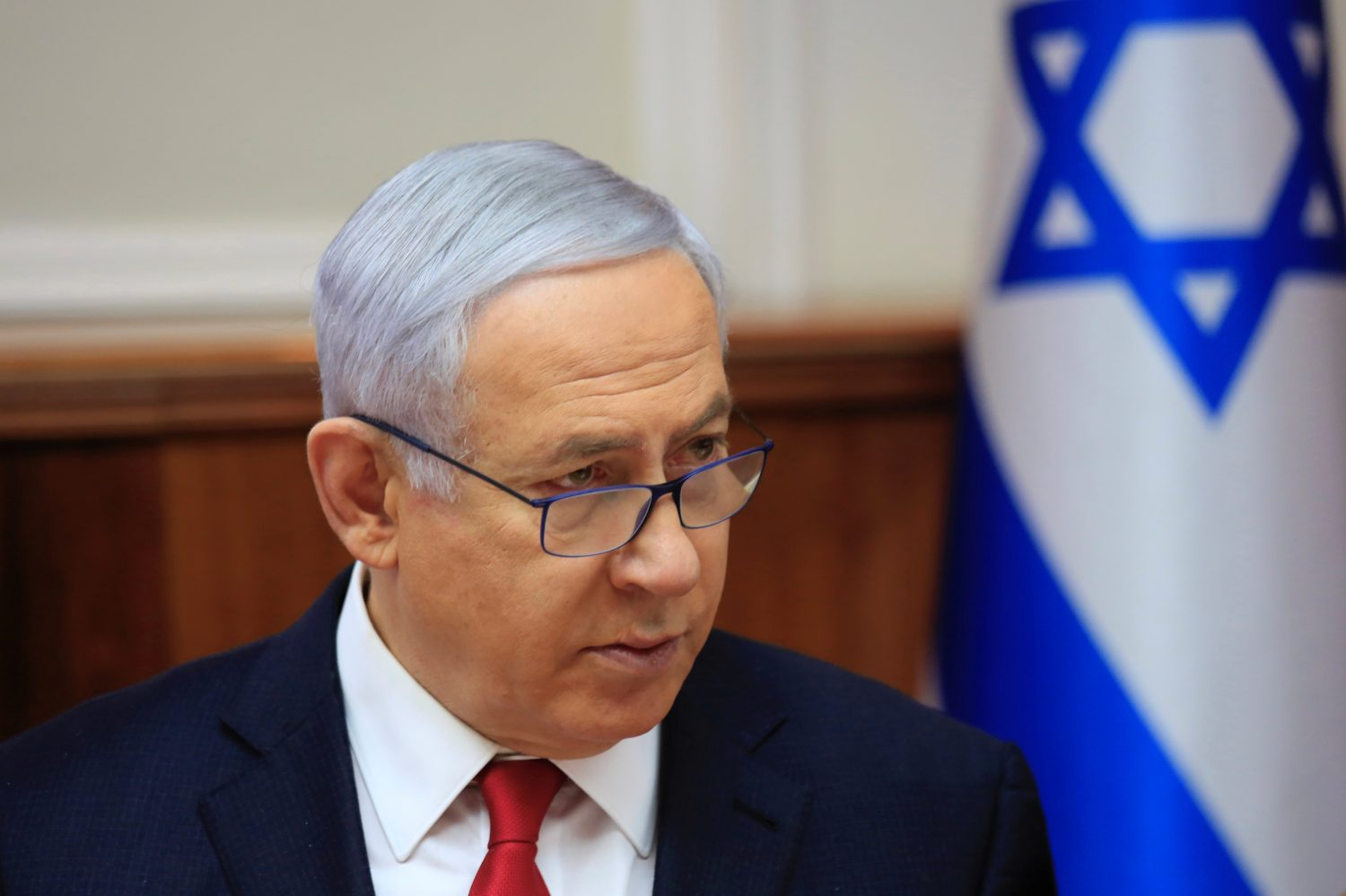 FILE PHOTO: Israeli Prime Minister Benjamin Netanyahu speaks during the weekly cabinet meeting at the Prime Minister's office in Jerusalem May 19, 2019. Ariel Schalit/Pool via REUTERS