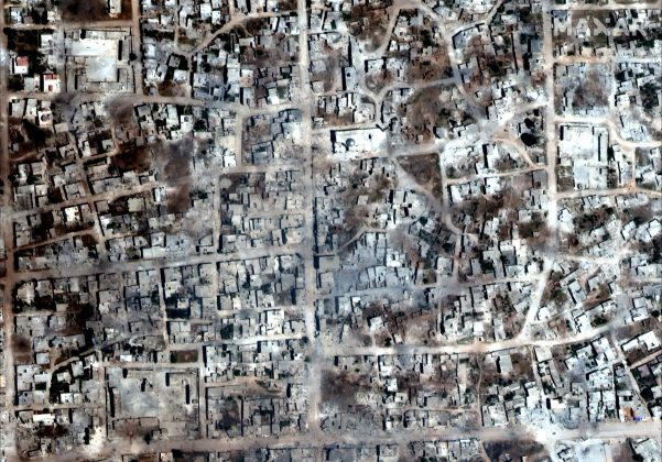 A satelite overview image of Kafr Nabudah that shows damaged and destroyed buildings, Idlib Province, Syria May 26, 2019. Picture taken May 26, 2019. Satellite image ©2019 Maxar Technologies/Handout via REUTERS