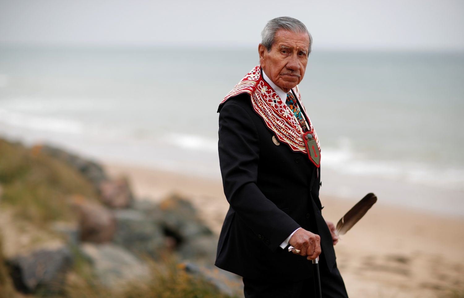 Charles Norman Shay, 94, a Penobscot Native American Indian WWII veteran, poses as he attends an interview with Reuters in Saint-Laurent-sur-Mer, near Omaha Beach, France, May 18, 2019. REUTERS/Christian Hartmann