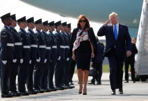 U.S. President Donald Trump and First Lady Melania Trump arrive for their state visit to Britain, at Stansted Airport near London, Britain, June 3, 2019. REUTERS/Carlos Barria