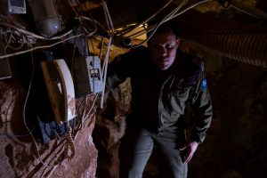 Israeli Army Spokesperson, Lieutenant-Colonel Jonathan Conricus looks at during a media tour organised by the Israeli military inside a cross-border tunnel which Israel said was dug from Lebanon into Israel, near Zar'it in northern Israel, June 3, 2019. REUTERS/Gil Eliyahu