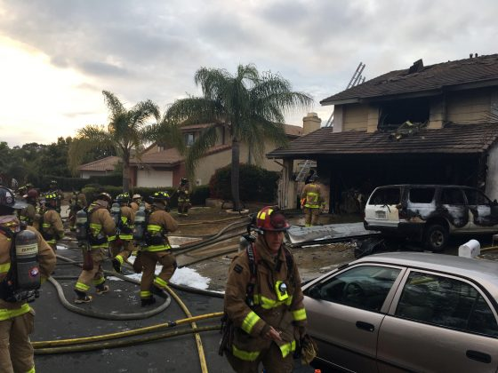 A suburban home that was the site of a hash oil extraction laboratory explosion is seen in the Mira Mesa area of San Diego, California, U.S., May 5, 2019. San Diego-Fire Rescue Department/Handout via REUTERS