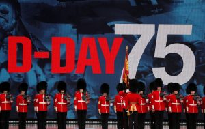 Soldiers stay stand for the event to commemorate the 75th anniversary of D-Day, in Portsmouth, Britain, June 5, 2019. REUTERS/Carlos Barria