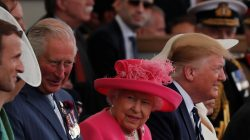 French President Emmanuel Macron, Britain's Charles, Prince of Wales, Britain's Queen Elizabeth, U.S. President Donald Trump and First Lady Melania Trump participate in an event to commemorate the 75th anniversary of D-Day, in Portsmouth, Britain, June 5, 2019. REUTERS/Carlos Barria