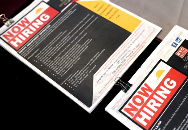 FILE PHOTO: Brochures are displayed for job seekers at the Construction Careers Now! hiring event in Denver, Colorado U.S. August 2, 2017. REUTERS/Rick Wilking/File Photo